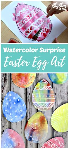 There are two watercolor techniques that can be used to create watercolor surprise Easter Egg art for kids using our FREE Easter Egg printable template. Invite children to paint Easter Egg art using a watercolor resist medium or the wet-on-wet watercolor painting method to see what magically appears!