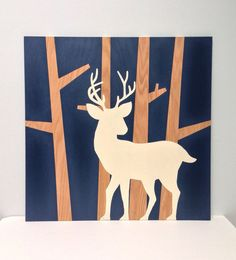 Large 2'x 2' Hand Painted Deer in Trees on by SweetBananasArt, $110.00