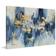 This Hints of Gold Foiled Canvas Art Print features an abstract paint stroke print in hues of blue and white Its pops of gold give it a shimmery touch. Blue Canvas Art, Gold Canvas, Blue Art, Canvas Art Prints, Painting Prints, Canvas Wall Art, Abstract Art Blue, Acrylic Canvas, Color Blue