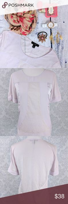 J.CREW | chiffon and sheer lilac t shirt NWOT With angular seams and chiffon and satin panels, this pretty fabric-mixing T-shirt is a total overachiever (in a good way).  Never worn, NWOT. J.Crew Black label.    MEASUREMENTS:   Shoulder to shoulder: 14.5 inches  Armpit to armpit: 17.5 inches  Shoulder to hem: 25 inches  Sleeve length: 9 inches J. Crew Tops Tees - Short Sleeve