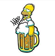 Beer, The Simpsons Simpsons Drawings, Simpsons Tattoo, Simpsons Art, Homer Simpson Beer, Japanese Tattoo Art, Tattoo Sketches, Graffiti Art, Cartoon Art, Doodle Art