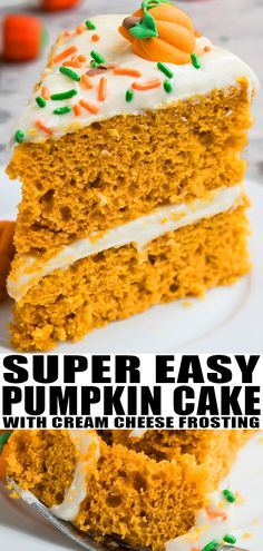 EASY PUMPKIN CAKE RECIPE- The best spiced, soft, moist, quick, easy cake with cream cheese frosting. This doctored yellow cake mix recipe is great for Fall and Thanksgiving and requires simple ingredients. Use cake scraps to make cake pops. From CakeWhiz.com #cake #pumpkin #dessert #dessertrecipes #thanksgiving