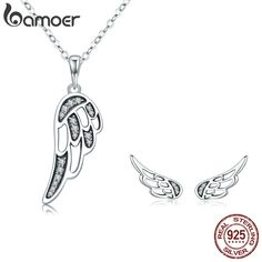 4f0a73887 BAMOER Authentic 100% 925 Sterling Silver Fairy Wings Feather Women  Necklace Earrings Jewelry Set Authentic