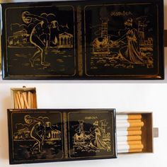 Cigarette and match safe handmade black and 24k gold Olympia Greece. A personal favorite from my Etsy shop https://www.etsy.com/listing/289405585/1960s-olympia-vintage-hand-made-painted
