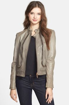 Vince Camuto Zip Detail Lambskin Leather Moto Jacket available at #Nordstrom