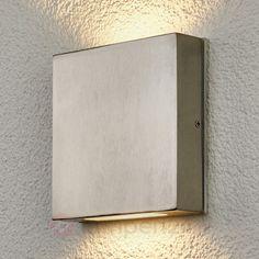 Hoekige rvs-wandlamp voor buiten Simona, LED veilig & makkelijk online bestellen op lampen24.nl