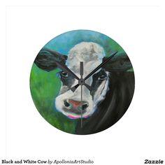 Black and White Cow Round Clock