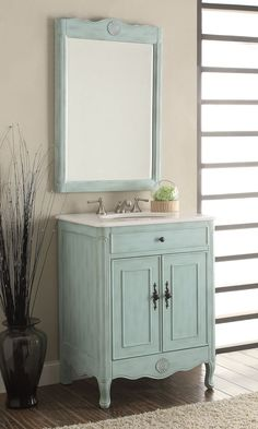 "26"" Cottage Style 2 doors Daleville Bathroom Sink Vanity with Mirror Set - 838LB-MIR"