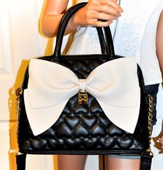Betsey Johnson Be Mine Bow Dome Black Heart Satchel Bag Crossbody Purse NWT #BetseyJohnson #SatchelCrossbodyToteBag