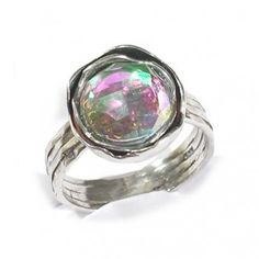 Silver Ring with Rainbowquartz