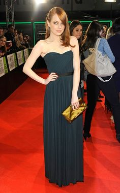 beautiful shade of red hair, looks perfect with the navy Lanvin dress and clutch. Emma Stone.