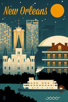 New Orleans, Louisiana - Retro Skyline - Lantern Press Artwork
