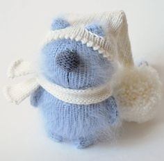BLUE CAT - AMIGURUMI Cat - Knit Mohair Cat -  Cat in a Hat - Handmade Miniature Cat - Little Cat - Mohair Wool Cat - Handmade Gift Kitten