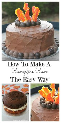 Campfire cake decorating doesn't have to be hard. Learn how to make the cake the easy way with roaring flames, logs and boulders. Perfect for the camping enthusiasts. Homemade Birthday Cakes, Cool Birthday Cakes, Birthday Ideas, Easy Desserts, Dessert Recipes, Campfire Cake, Cake Recipes For Kids, Best Instant Pot Recipe, Party Food And Drinks