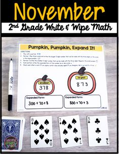 Looking for November math centers? These printable write and wipe partner activities were designed to help students practice key Common Core math standards for second grade. Use these math games for month-long review and/or to preview upcoming material. My 2nd grade class loves them! Common Core Math Standards, Common Core Ela, 2nd Grade Class, Second Grade, Learning Games, Math Games, Thanksgiving Math, Classroom Routines, Game Resources