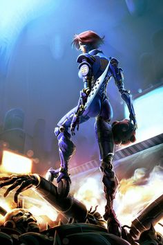 Futuristic Girl, Battle Angel by ~AGNakamura on deviantART Alita Movie, Alita Battle Angel Manga, Female Cyborg, Sci Fi Characters, Shadowrun, Sci Fi Fantasy, Sci Fi Art, Anime Comics, Science Fiction