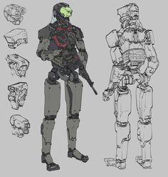 MANTIS - mech for a cyberpunk, retro-futuristic shooter, Will JinHo Bik on ArtStation at https://www.artstation.com/artwork/EZrxq
