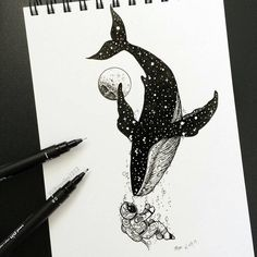 Drawing Astronaut Black and white Whale Illustrati Space Drawings, Ink Pen Drawings, Art Drawings Sketches, Cool Drawings, Sketch Art, Whale Illustration, Ink Illustrations, Black Pen Drawing, Black Pen Sketches