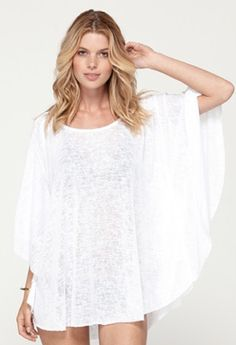 10 swimsuit cover-ups that'll look stylish on and off the beach. Roxy, White Beach Cover Up, Swimsuit Cover Ups, Fashion Beauty, Swimsuits, Swimwear, Girls Dresses, My Style, Outfits
