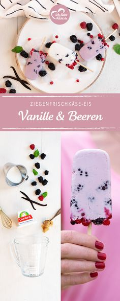 Goat cream cheese with vanilla and berries, # Ziegenfrischkäseeis Food N, Food And Drink, Ice Ice Baby, Ice Cream Party, Sorbet, Parfait, Love Food, Sweet Recipes, Goats
