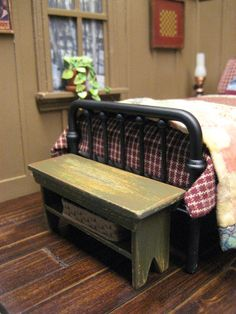 Dollhouse Miniature Bench Country Primitive by MiniatureCabinDecor, $49.00