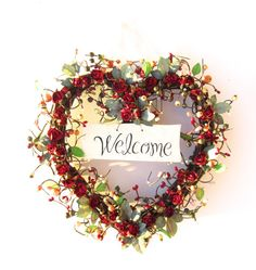 Heart Shaped Welcome wreath   red roses  by laurelsbylaurie, $60.00