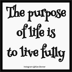 . The #purpose of #life is to #live fully.  Life is not a process of discovery but a process of creation.  The more you are the more you can become and and the more you become the more you can be.  So don't seek to find who you are but rather seek to determine who you want to be. . .