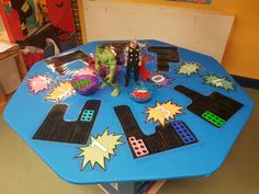 Problem solving and shape space and measure. Get children familar with numicon shapes / numbers. Numicon Activities, Nursery Activities, Maths Eyfs, Eyfs Classroom, Early Years Maths, Early Years Classroom, Superhero Classroom Theme, Classroom Themes, Infant Lesson Plans