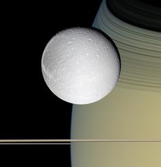 Saturn's moon, Dione - by the robotic Cassini spacecraft