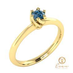 Inel de logodna din aur cu diamant albastru ES1 Aur, Engagement Rings, Jewelry, Fashion, Enagement Rings, Moda, Wedding Rings, Jewlery, Jewerly