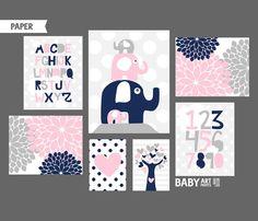 P NK Marine Grey Girl kinderkamer kunst wordt door babyartprints
