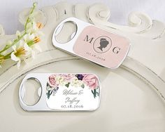 Personalized English Garden Silver Bottle Opener Favors (Kate Aspen 11141NA) | Buy at Wedding Favors Unlimited (http://www.weddingfavorsunlimited.com/personalized_english_garden_silver_bottle_opener_favors.html).
