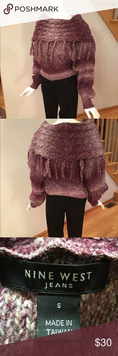 Fringed cowl neck sweater. Waist length , dolman  3/4 length sleeves. With tasseled cowl.Dominant color burgundy with off white and flecks of bluish gray. Nine West Sweaters Cowl & Turtlenecks