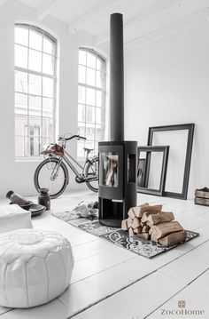 Scandinavian Home Design Ideas choose white and grey Interior Architecture, Interior Design, Home Fireplace, Fireplace Ideas, Wood Burner, Deco Design, Scandinavian Interior, Minimalist Scandinavian, Minimalist Living