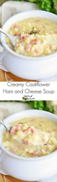 Creamy Cauliflower Ham and Cheese Soup ~ made with cauliflower, ham, and white cheddar cheese, this soup is hearty and filling!