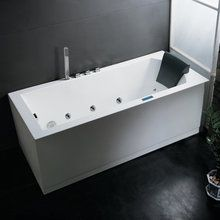 """For a rectangular tub, I like this with the frosted glass at one end - cozier. Ariel AM154JDTSZ-L Platinum Whirlpool Bath Tub 59"""" x 32"""" with Roman Tub Filler Faucet and Left Drain at FaucetDirect.com."""