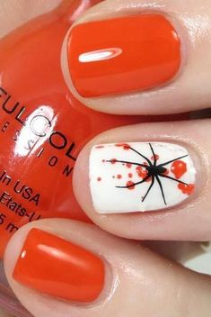 Bright orange nails with White gloss ring finger accent nail with orange splatter and a stamped spider Halloween / Holiday Nail Art Fancy Nails, Love Nails, How To Do Nails, Pretty Nails, Nail Art Halloween, Halloween Nail Designs, Halloween Spider, Scary Halloween, Halloween Outfits