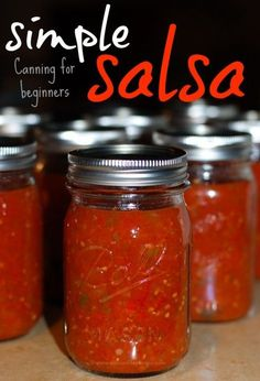 canning recipes - DIY Salsa Canning for Beginners Use Up Ripe Tomatoes Canning Homemade Salsa, Salsa Canning Recipes, Easy Canning, Canning Salsa, Canning 101, Fresh Tomato Salsa Recipe For Canning, Easy Canned Salsa Recipe, Jam Recipes, Recipe For Salsa