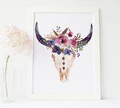 printable art bull head print cow skull wall by PrintableLifeStyle