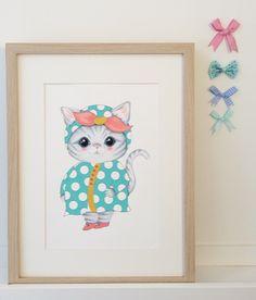 Klaasje I❤️you www.illeke.nl #kids #kidsroom #illustration #kitten
