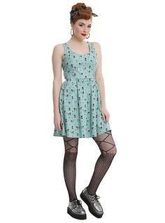 Mint Skeleton Dog And Cat Fit & Flare DressMint Skeleton Dog And Cat Fit & Flare Dress,
