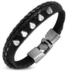 Stylový náramek včernébarvě, zdobený kovovými trny Belt, Bracelets, Leather, Accessories, Jewelry, Fashion, Belts, Moda, Jewlery