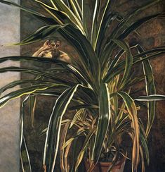 Lucian Freud - Interior with Plant, Reflection Listening. (Self-Portrait) 1968, Oil on canvas.