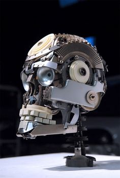 "In his series ""Re-assemblage"" artist Jeremy Mayer disassembles typewriters and reassembles them into human and animal figures.    Jeremy creates his sculptures using only objects originated from typewriters and without the use of solder, weld, or glue."