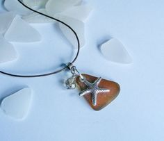 Amber Brown Sea glass Necklace With Starfish and Crystal