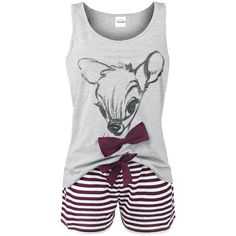 "Bambi - Lovely Stripes  - pajama set - top with front print - striped pants  Spring is coming and the young animals discover the light of day: in the Disney classic ""Bambi"" the young deer Bambi is experiencing his first year in the forest. Cared for by his loving mother, Bambi gets to know his first friends pretty quickly. Thumper, the rabbit, the skunk and Bambi are wandering through the forest from now on, surviving adventures, dangers and losses. You gotta love Bambi! In our shop..."