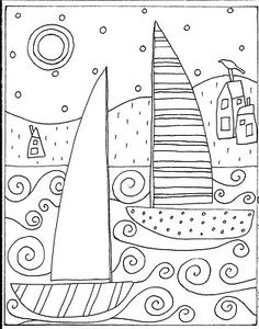 Paper Embroidery Patterns You are dealing with Karla Gerard, Maine Folk Art/Abstract Artist, Originator/Creator of concentric circles/flowers in trees paintings and in landscapes. Over of my original paintings are in worldwide collections. Folk Embroidery, Paper Embroidery, Learn Embroidery, Embroidery Patterns, Colouring Pages, Adult Coloring Pages, Coloring Sheets, Coloring Books, Karla Gerard