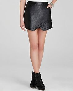 BCBGMAXAZRIA Skirt - Owen Faux Leather Asymmetric | Bloomingdale's