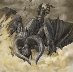 Black-Diablos Monster Hunter Series, Monster Hunter Art, Girl Face Drawing, Hunt Club, Desert Art, Pokemon, Fantasy Monster, Fantasy Creatures, Game Art
