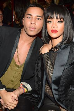 Olivier Rousteing and Rihanna, at the Balmain after-party.